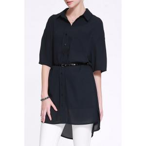 Fitting Solid Color Shirt Dress -