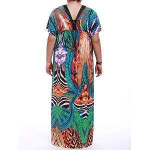 Plus Size V-Neck Empire Waist Print Maxi Dress - GREEN M