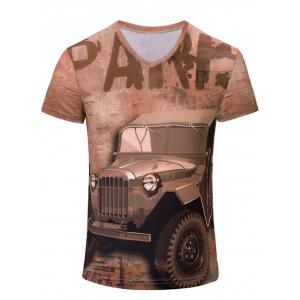V-Neck 3D Car and Letters Print Color Block Short Sleeve T-Shirt For Men