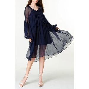 V-Neck Lantern Sleeve Voluminous Dress -