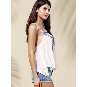 Ethnic Style Spaghetti Strap Embroidered High Low Women's Tank Top -