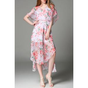 Batwing Sleeve Chiffon Floral Dress -