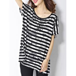 Trendy Scoop Neck Striped Letter Print Short Sleeve Women's Tee -