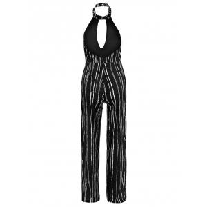 Sleeveless Striped High Slit Backless Jumpsuit - BLACK M