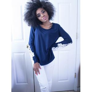 Stylish Scoop Neck Long Sleeve Hollow Out Slimming Women's T-Shirt - BLUE S