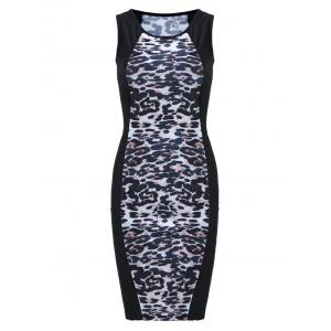 Sleeveless Plus Size Leopard Print Bodycon Dress