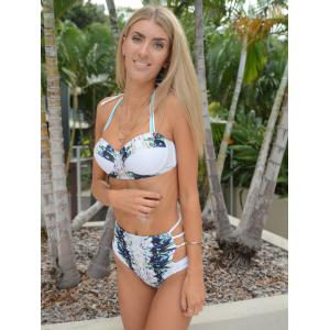 Sexy High Waist Halter Printed Bikini Set For Women -