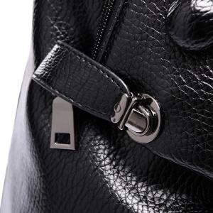 Stylish Solid Colour and Buttons Design Satchel For Women - BLACK