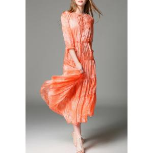 Tiny Floral Tiered Maxi Dress in Orange -
