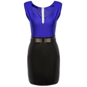 Elegant V-Neck Color Block Sleeveless Dress For Women - BLUE M