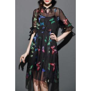 Butterfly Print See-Through Dress with Tank Top -