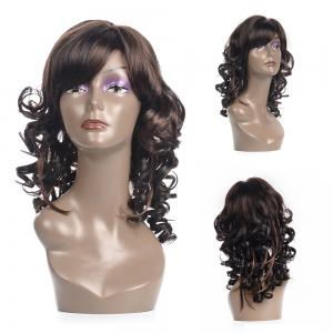 Vogue Medium Side Bang Kanekalon Fluffy Curly Black Mixed Brown Wig For Women - Colormix