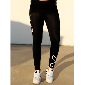 Cross Printed Close-Fitting Elastic Waist Men's Sports Pants