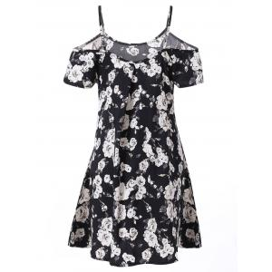 Fashionable Spaghetti Strap Short Sleeve Floral Print Women's Dress -