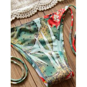 Elegant Halter Cotton Blend Lotus Pattern Bikini Set For Women -
