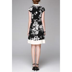 Single-Breasted Floral Print Dress -