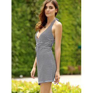 Leisure Style Halter Striped Backless Women's Mini Dress -