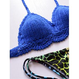Trendy Halter Cotton Blend Colorful Pattern Bikini Set For Women -