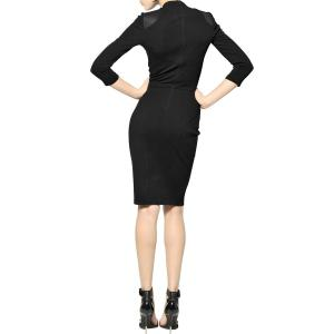 Long Sleeve PU Leather Detail Bodycon Dress -