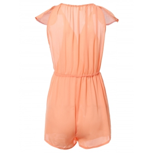Trendy Plunging Neck Cap Sleeves High Waist Romper For Women - ORANGE XL