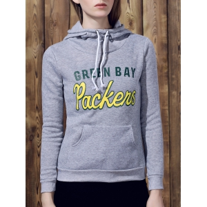 Casual Hooded Letter Print Drawstring Long Sleeve Hoodie For Women
