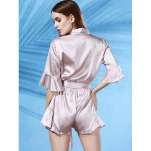 Trendy V-Neck Butterfly Sleeve Flouncing Spliced Wrap Romper For Women - APRICOT XL