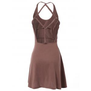 Fashionable Sleeveless Hollow Out Solid Color Backless Women's Dress - DEEP BROWN M