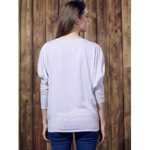 Stylish Batwing Sleeve Solid Color Loose-Fitting Women's T-Shirt - LIGHT GRAY L