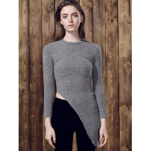 Chic Stand Collar Long Sleeve Irregular Sweater For Women - GRAY M