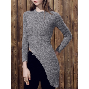 Chic Stand Collar Long Sleeve Irregular Sweater For Women