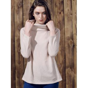 Pure Color Women's Long Sleeve Turtleneck Pullover Sweater - APRICOT S