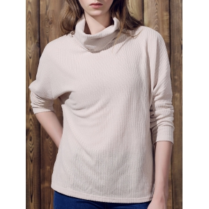 Pure Color Women's Long Sleeve Turtleneck Pullover Sweater - Apricot - M