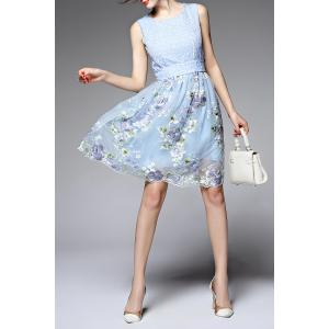 Round Neck Sleeveless Floral Embroidery Dress -