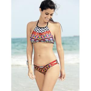Ethnic High Neck Printed String Bikini Set For Women - COLORMIX L