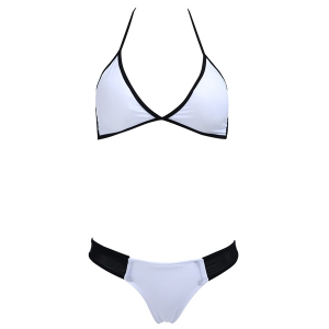 Halter Two Tone Bikini Set