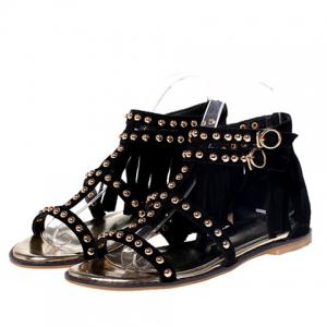 Trendy Suede and Fringe Design Sandals For Women -