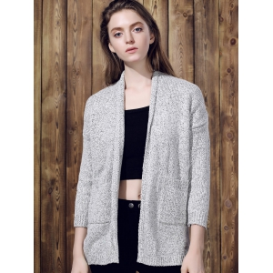 Collarless Long Sleeve Pocket Design Knit Cardigan - GRAY M