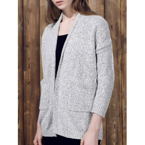 Collarless Long Sleeve Pocket Design Knit Cardigan