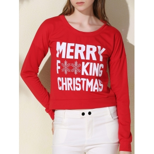 Stylish Scoop Neck Long Sleeve Snowflake and Letter Pattern Women's Christmas Sweatshirt - Red - Xl