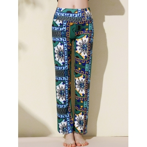 Ethnic Style Mid-Waisted Floral Print Loose-Fitting Exumas Pants For Women - AS THE PICTURE M