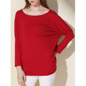 Simple Scoop Neck Solid Color Long Sleeve T-Shirt For Women - Red - Xl