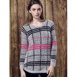 Attractive Round Collar Irregular Plaid Printed Pullover Mohair Sweater For Women - GRAY ONE SIZE(FIT SIZE XS TO M)