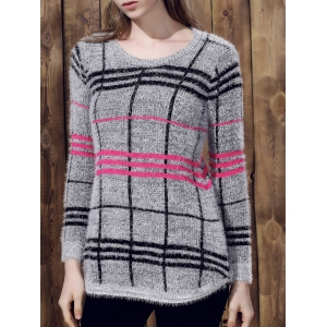 Attractive Round Collar Irregular Plaid Printed Pullover Mohair Sweater For Women - Gray - One Size(fit Size Xs To M)