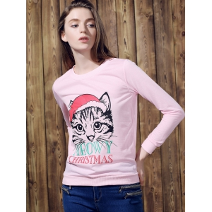 Cute Round Neck Long Sleeve Cat Print Women's Christmas Sweatshirt - PINK S