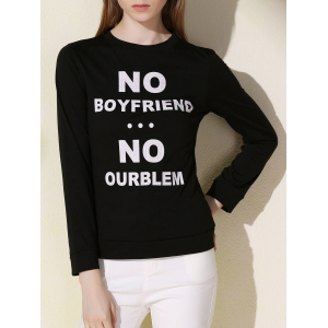Casual Long Sleeve Letter Printed Pullover Sweatshirt For Women