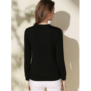 Casual Long Sleeve Letter Printed Pullover Sweatshirt For Women - BLACK L