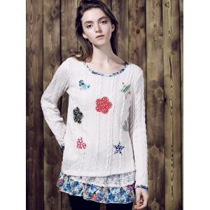 Casual Jewel Neck Long Sleeves Applique Sweater For Women -