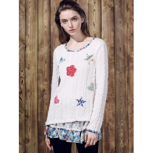 Casual Jewel Neck Long Sleeves Applique Sweater For Women - OFF WHITE XL