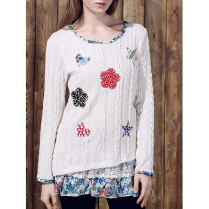 Casual Jewel Neck Long Sleeves Applique Sweater For Women - Off-white - Xl
