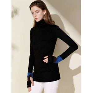 Fashionable Turtleneck Long Sleeve Sheathy Pullover Sweatshirt For Women - BLACK S